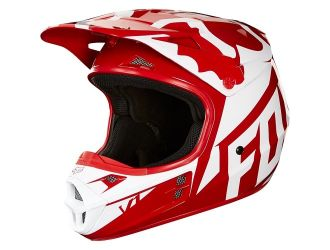 FOX  V1 Race Helmet  Red-White