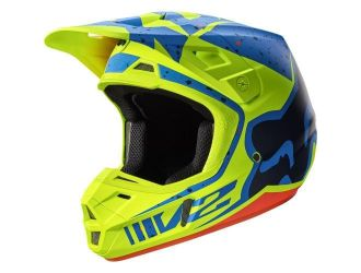 FOX  V2 NIRV HELMET ECE YELLOW/BLUE